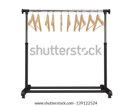 Mobile black coat rack with hangers on a white background - stock photo