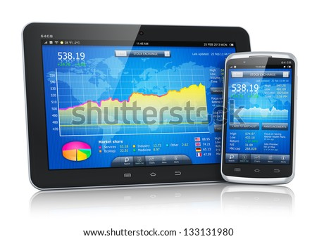 Mobile business concept: stock exchange market application on modern black glossy touchscreen smartphone and tablet PC computer isolated on white background with reflection effect - stock photo