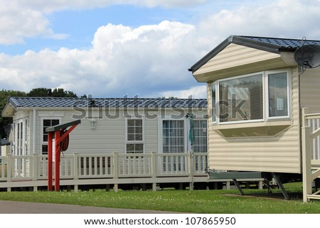 Mobile caravans or trailers in modern holiday park. - stock photo