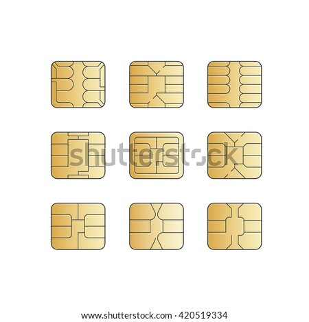 Mobile Cellular Phone Sim Card Chip Set Isolated on White Background - stock photo