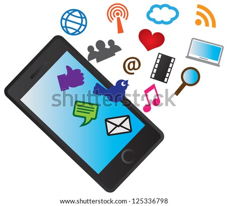 Mobile Cellular Phone with Social Media Icons Isolated on White Background Illustration Raster Vector - stock photo