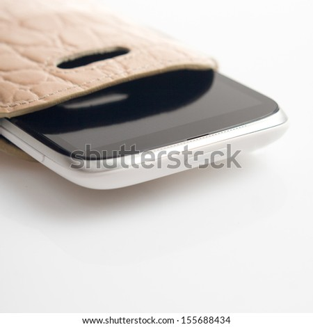 Mobile closeup isolated in the case - stock photo