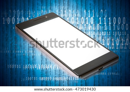 Mobile commerce and payment concept. Smart phone with mobile payment application on abstract digital binary code background.