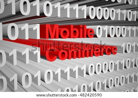 Mobile commerce in the form of binary code, 3D illustration
