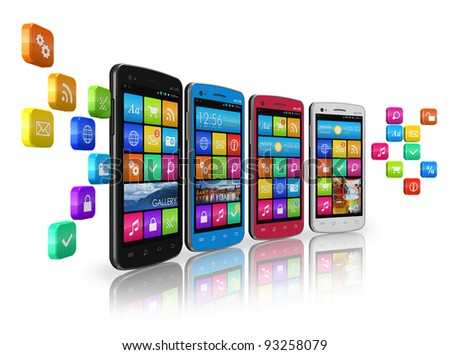 Mobile communications and social networking concept: row of touchscreen smartphones with cloud of application icons isolated on white reflective background