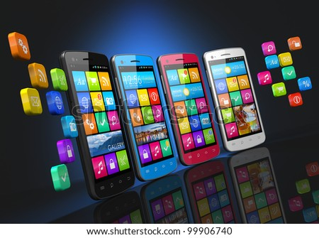 Mobile communications and social networking concept: row of touchscreen smartphones with cloud of application icons isolated on black background with reflection effect - stock photo
