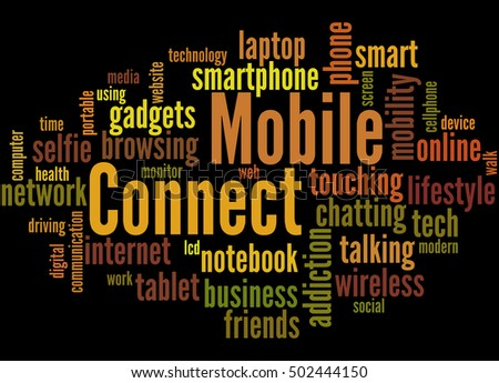 Mobile Connect, word cloud concept on black background.