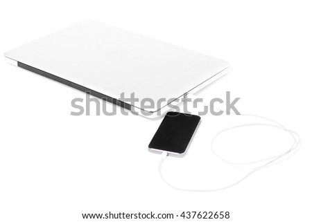 mobile connecting laptop isolated on white background - stock photo