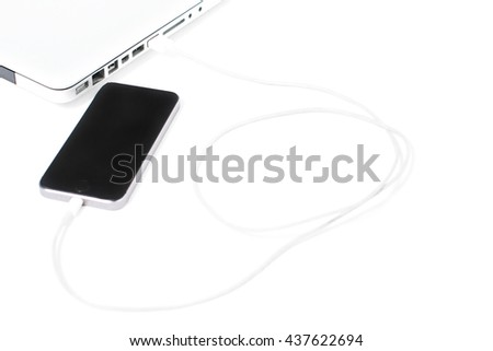 mobile connecting laptop isolated on white background