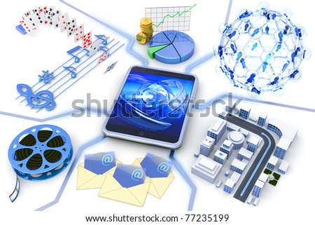 Mobile device applications - stock photo