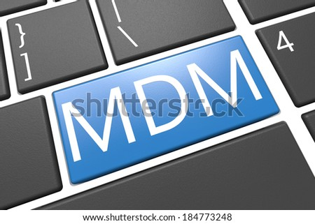 Mobile Device Management - keyboard 3d render illustration with word on blue key