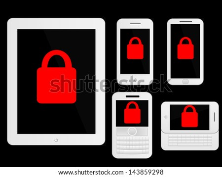 Mobile Devices Secure Icons White - stock photo