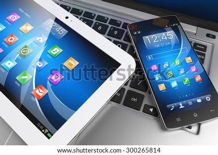 Mobile devices. Tablet PC, smartphone on laptop, technology concept. 3D - stock photo