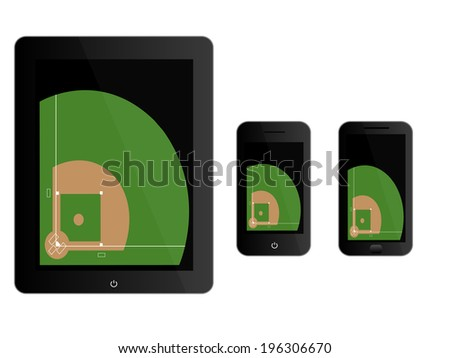 Mobile Devices with Baseball Field Black - stock photo