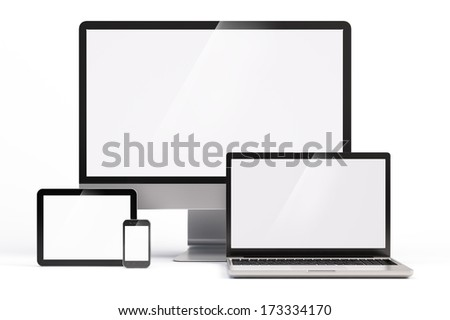 Mobile devices with white screen template - stock photo