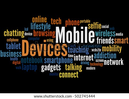 Mobile devices, word cloud concept on black background.