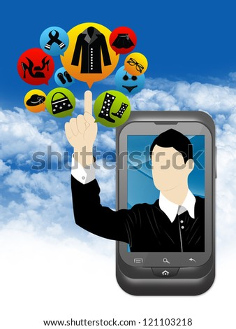 Mobile E-Commerce and Online Shopping Concept Present by Smartphone With Businessman Pointing to Colorful Women Fashion Icon in Blue Sky Background - stock photo