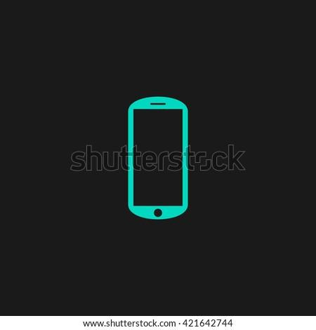 mobile Flat icon on black background. Simple symbol - stock photo