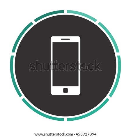 Mobile gadget. Circle button on black background - stock photo