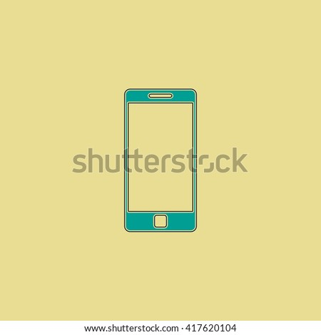 Mobile gadget. Grren simple flat symbol with black stroke over yellow background - stock photo