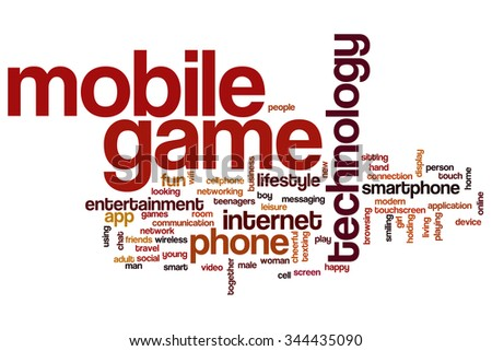 Mobile game word cloud - stock photo
