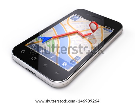 Mobile gps concept - smartphone navigation isolated on white - stock photo