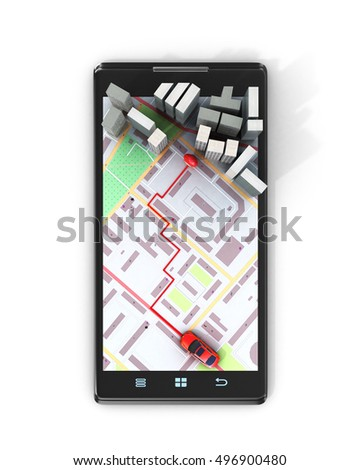 Mobile GPS navigation concept. Smartphone on map of the city, 3d illustration