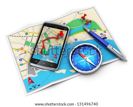 Mobile GPS navigation, travel and tourism concept: modern black glossy touchscreen smartphone with GPS navigation application, magnetic compass, pen and group of pushpins on city map isolated on white
