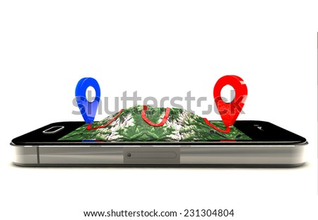 Mobile GPS navigation,travel and tourism concept:modern black glossy touchscreen smartphone with GPS navigation application and group of pushpins on world map.Elements of this image furnished by NASA  - stock photo
