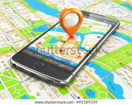 Mobile GPS navigation travel concept. Smartphonewith pin on city map. 3d illustration