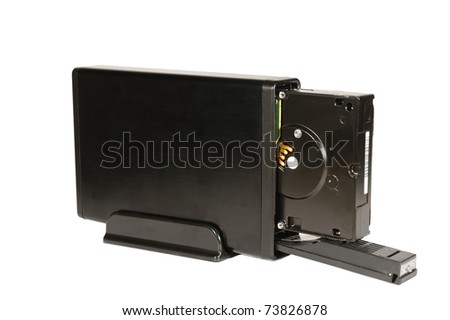Mobile hard disk drive isolated against white background