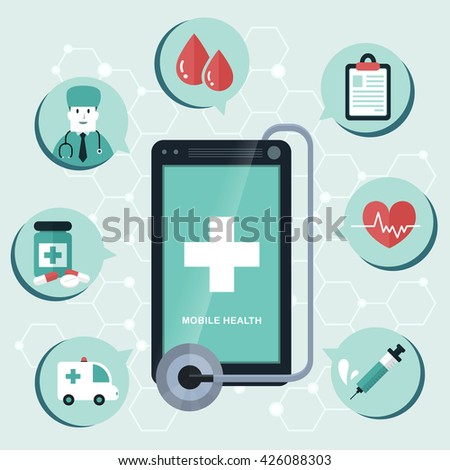 mobile health flat design illustration - track your health condition through devices