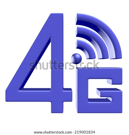 Mobile high speed data connection telecommunication concept: blue abstract 4G LTE wireless communication technology icon symbol isolated on white background - stock photo
