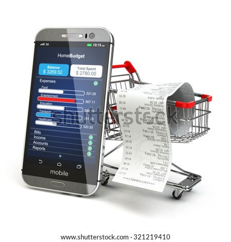 Mobile home budget application concept. Smartphone with shopping cart. 3d - stock photo