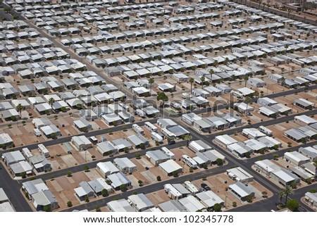 Mobile Home Park in the Arizona Desert - stock photo