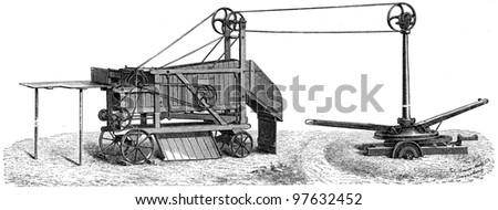 mobile horse threshing machine with a simple cleaning draw by Simeon Nachf - an illustration of the encyclopedia publishers Education, St. Petersburg, Russian Empire, 1896 - stock photo