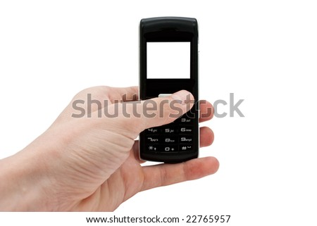 Mobile in a hand - stock photo