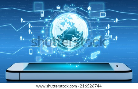Mobile Internet and applications from around the world on your phone - stock photo