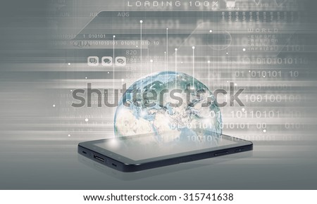 Mobile internet concept with mobile phone and digital planet. Elements of this image are furnished by NASA - stock photo