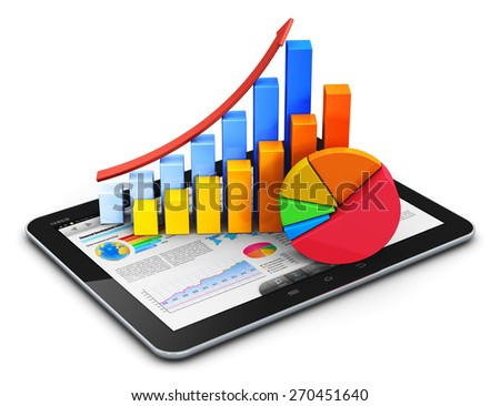 Mobile internet office, stock exchange market trading, accounting financial development and banking business concept: tablet computer with stock market app, bar chart and pie diagram isolated on white - stock photo