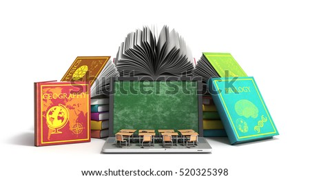Mobile knowledge school or college education business office work and electronic media concept laptop or notebook with stack of books isolated on white. 3D rendering.