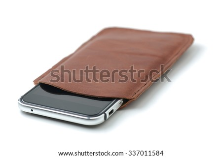 mobile leather case - stock photo