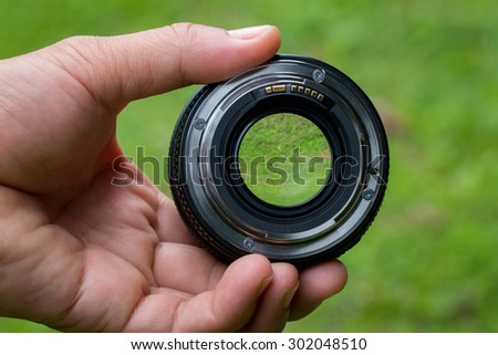 Mobile lenses on a green lawn. - stock photo