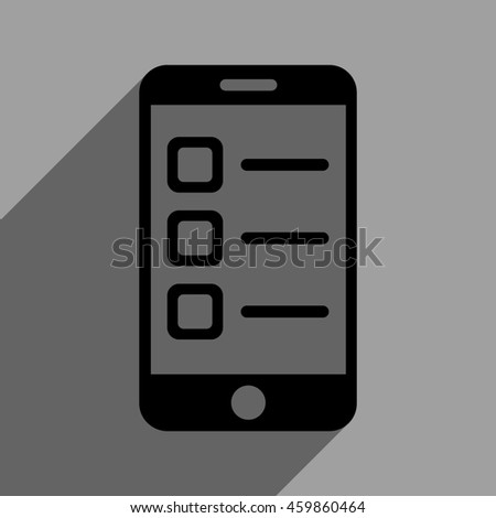 Mobile List long shadow glyph icon. Style is a flat mobile list black iconic symbol on a gray square background with longshadow. - stock photo