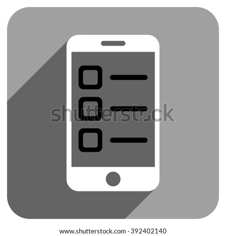Mobile List long shadow glyph icon. Style is a flat mobile list iconic symbol on a gray square background. - stock photo