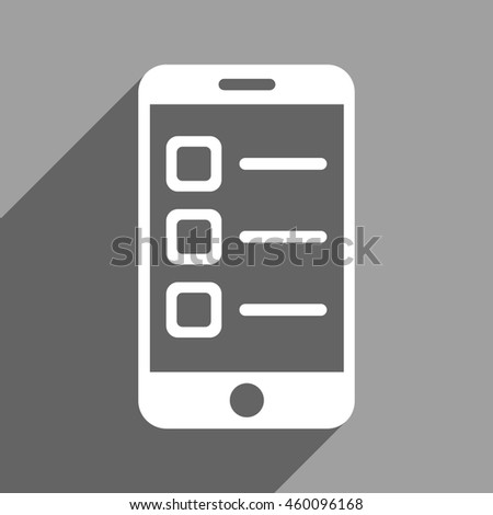 Mobile List long shadow glyph icon. Style is a flat mobile list white iconic symbol on a gray square background. - stock photo