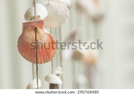 Mobile made from variety sea shells - stock photo