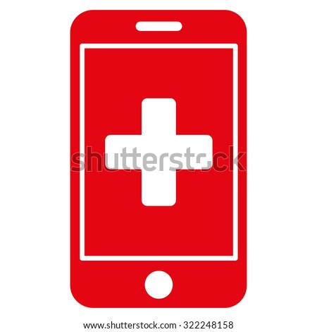 Mobile Medicine raster icon. Style is flat symbol, red color, rounded angles, white background.
