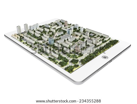 Mobile navigation device with 3d city map on white background - stock photo