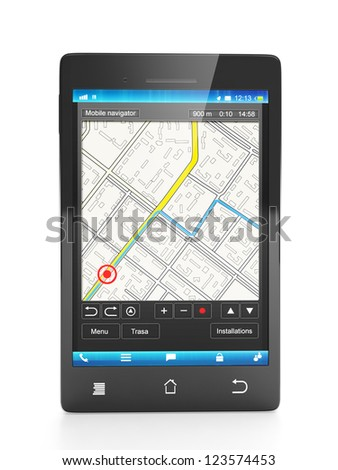 Mobile Navigator. Mobile phone close-up navigation map on a white background